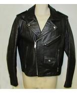 Mens vintage black leather motorcycle jacket fo... - $125.00