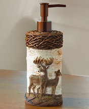 Cute Doe Deer Buck Decorative Soap Lotion Pump Dispenser Wood Hunting Theme - $13.50