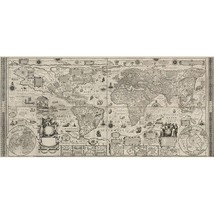 Antique Old World Wall Map Leinwand 1604 Canvas... - $65.00