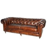 "84"" Sofa  Restoration Style Vintage Cigar Top Grain Leather Tufted Chest... - $2,965.05"
