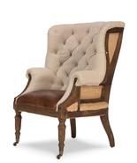 Deconstructed Tufted Linen Burlap Back Oak Frame Leather Seat Chair,43''H. - $1,579.05