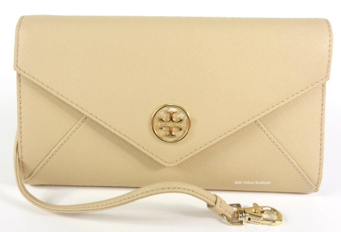 Tory Burch 33641 Robinson Toasted Wheat Envelope Saffiano Clutch Wristlet NEW!
