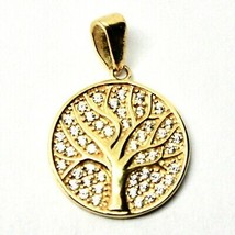 Pendant Tree Of Life in Gold 18k 750 YELLOW WITH ZIRCONIA MADE IN ITALY image 2