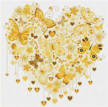 Yellow Butterfly Heart  cross stitch chart X Squared Cross Stitch  - $7.00