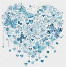 Blue Butterfly Heart  cross stitch chart X Squared Cross Stitch  - $7.00