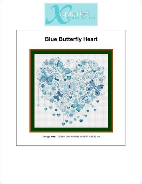 Blue Butterfly Heart  cross stitch chart X Squared Cross Stitch