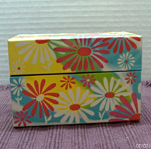 Vintage FLOWER POWER Tin Recipe Card Holder/Box // SYNDICATE MFG. CO Rec... - $10.80