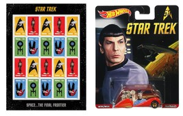 Star Trek Sheet of 20 USPS Stamps and Hot Wheels Spock 50th Anniv diecast car. - $29.99