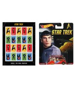Star Trek Sheet of 20 USPS Stamps and Hot Wheels Spock 50th Anniv diecas... - $29.99
