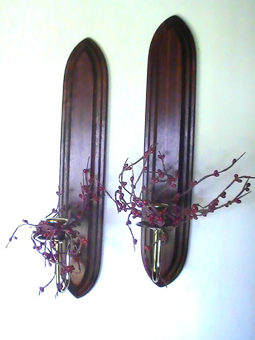 home interiors wall sconce set with cranberries flora
