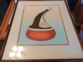 Navajo Pot with Lady, Watercolor Painting by Esther H. Cajero Framed & M... - $296.99