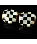Checker Board Cufflinks Vintage Mosaic MOP Austria Gold Tuxedo set Mothe... - $125.00