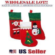 Felt Christmas Stocking Santa, Snowman, Xmas tree Design Applique (LOT O... - $34.60