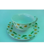 white ceramic coffee tea cup mug  with saucer floral white and yellow - $13.98