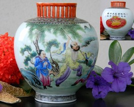 Vintage Amoy Canning Company Ginger Jar Advertising China Hand Painted - $39.95