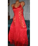Red Nylon Gown Front Lace Panels S M Nightgowns... - $22.00