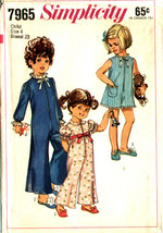 Simplicity Pattern 7965 Child's Pajamas or Pantsuit in 2 Lengths Size 4 - $7.99