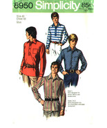 Simplicity Pattern 8950 Mens Shirts for Woven and Stretch Fabrics Size 40 - $7.99