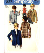 Simplicity Pattern 8371 Boys 2 and 3 Button Jackets and Vest Size 6 - $7.99