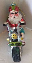 Glass Blown Christmas Tree Ornament Santa Clause Motorcycle Funky Holida... - $32.71