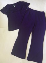 Funky Purple Bell Bottom Flared Pant Cascading Neckline Shirt Vtg Outfit... - $19.79