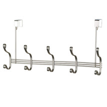 Over The Door Hanging Rack- 5 Hooks -Satin Nick... - $15.29