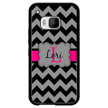 Personalized Rubber Case For Htc One M9 Black And Gray Chevron Hot Pink - $11.98