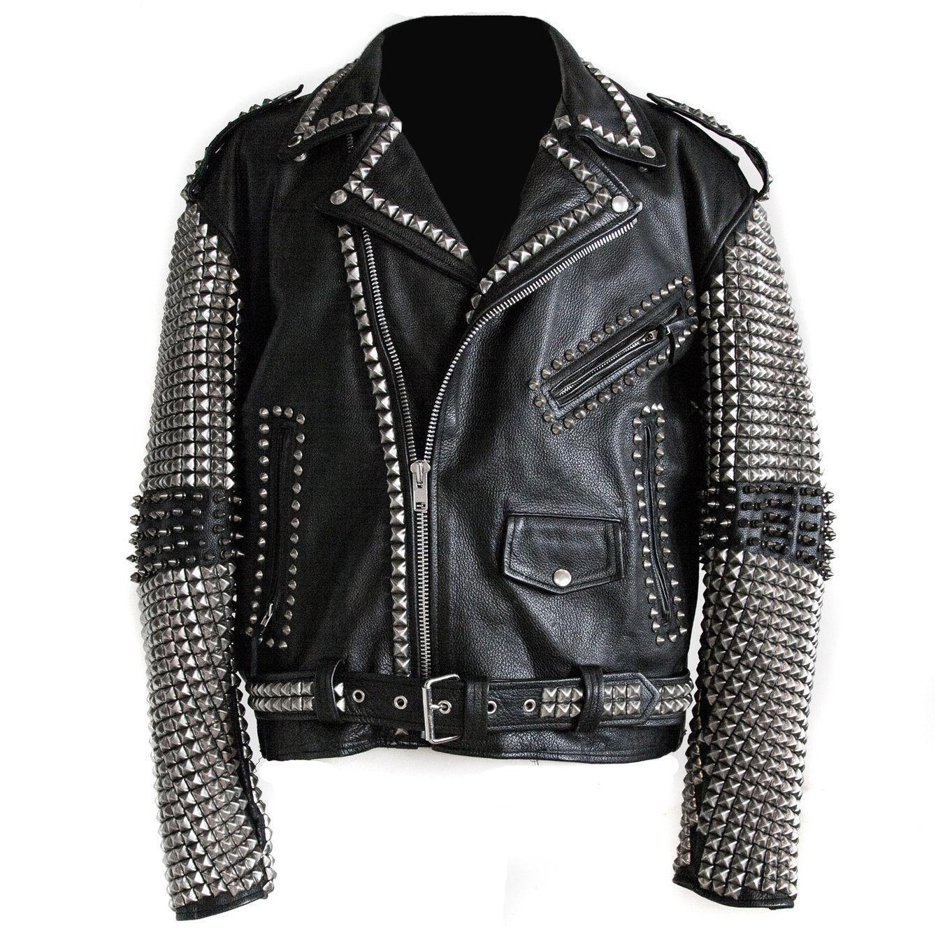Handmade Men Studded Leather Biker Motorcycle Punk Rocker jacket Rock punk Men for sale  USA
