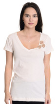 S J Crew Ivory Jersey Knit Fitted Tee V Neck Lux SOFT Top w/Beaded Flora... - $17.67