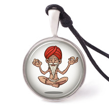 Necklace Pendant Jewelry Cartoon Floating Guru Handmade Pewter - $9.89