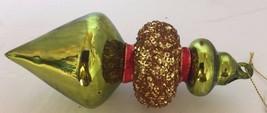Glass Blown Christmas Tree Ornament Green Gold Glitter Lantern Funky Hol... - $28.04