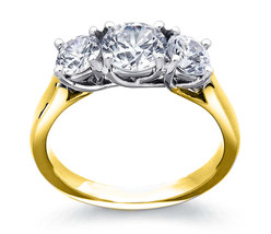 4.50CT Forever One Moissanite 3-Stone Trellis Ring Two Tone Gold  - $1,907.78+