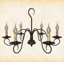 "PRIMITIVE COLONIAL METAL CHANDELIER ""Franklin"" Handcrafted 6 Arm Candela... - $329.23"