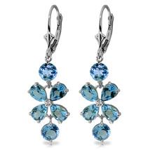 5.32 Carat 14K Solid White Gold Chandelier Earrings Natural Blue Topaz - $285.34