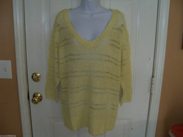 ELLE Lemon Open Stitch Sweater Size XL Women's NEW  LAST ONE HTF - $32.99
