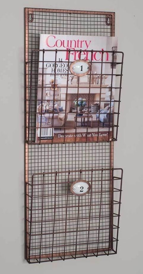 Vintage Inspired Wire Post Office Mail Organizer Wall Holder for Letters Bills