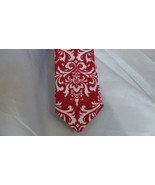 MEN'S RED DAMASK NECKTIE AND HANKY, Pocket Square, Wedding, Bridal, Groo... - $29.95