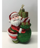 Santa Claus Christmas Tree Glass Ornament Kurt Adler Glitter - $8.99