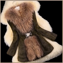 Luxury Dog Racoon Long Hair Fur Collar Mid Length Brown Rex Rabbit Fur Coat