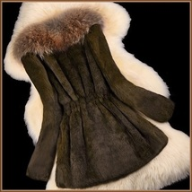 Luxury Dog Racoon Long Hair Fur Collar Mid Length Brown Rex Rabbit Fur Coat image 2
