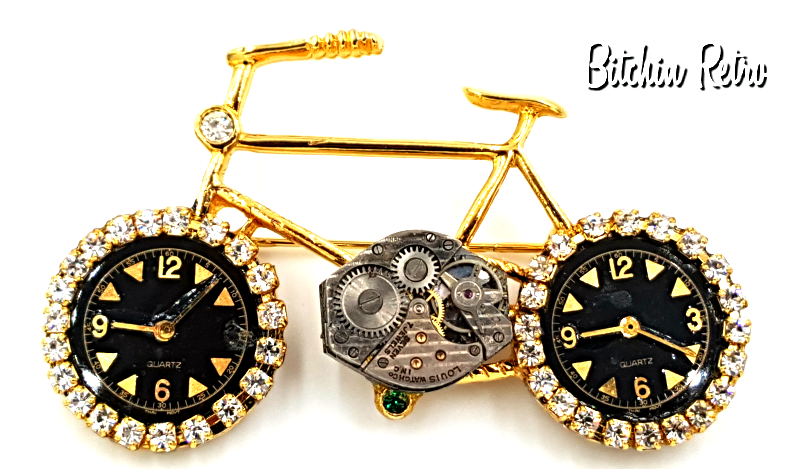 Primary image for Bicycle Brooch Embellished With Watch Parts & Rhinestones,  Fun Piece!