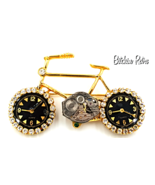 Bicycle Brooch Embellished With Watch Parts & Rhinestones,  Fun Piece!   - $17.00