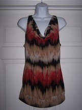 Studio Y Womens Top M Sleeveless Geometric Multi-Color Lace Back Plunge ... - $10.99