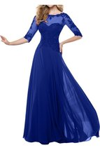 Fanmu Mother's Lace Half Sleeve Mother Of Bride Dress Prom Gowns Royal blue U... - $109.99