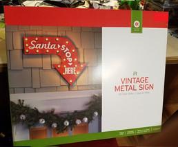 "New X-Mas Lit Vintage Metal Sign Christmas Santa Stop Here Lighted Sign 19.5x24"" - $34.99"