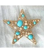 AV Mid Century Modern Rhinestone & Faux Turquoise Star Brooch 1960s vintage - $19.75