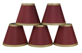 Urbanest Set of 5 Burgundy Silk Chandelier Lamp Shade with Gold Trim, 3-inch by  - $29.69