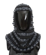 Dolce & Gabbana Gray Cashmere Glass Pearl Beaded Hood Scarf Hat - $1,976.91