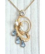 Amco 50s Ice Blue Rhinestone Sim Pearl GF Pendant - $34.95