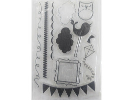 Miscellaneous Icons Clear Stamp Set, Includes Bird, Clouds, Frame, Kite, & More